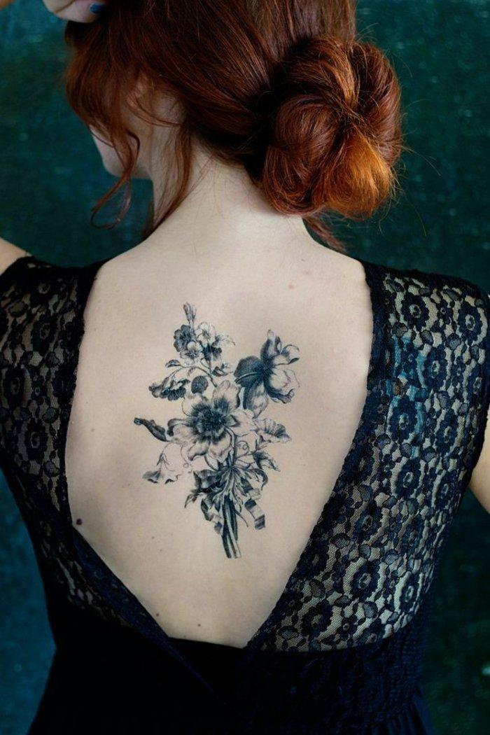 las mejores propuestas de tatuaje flor para mujeres con los significados de los flores, grande tatuaje en la espalda