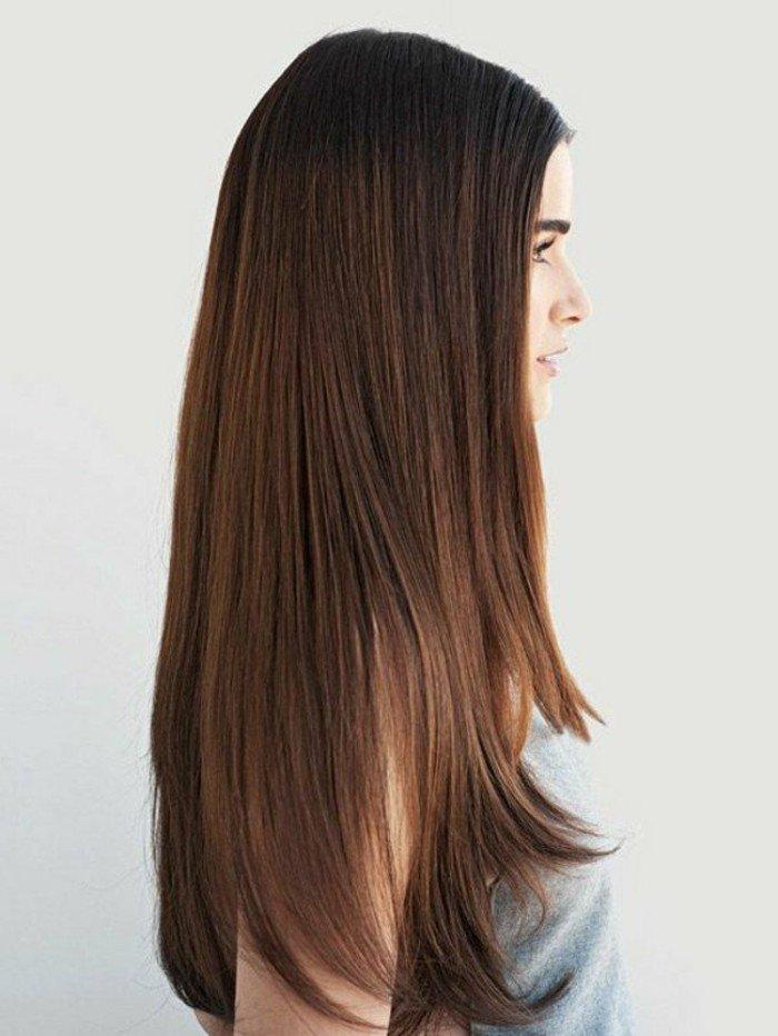cabellera larga lisa con degradado, peinados y cortes de pelo originales con reflejos en el pelo