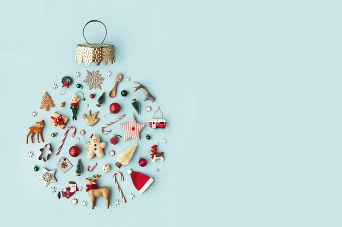 bonitas imagines navideñas descargables gratis, adorno navideño en forma de esfera hecho de pequeños detalles