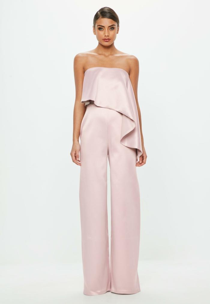 monos de vestir para ir a una boda, elegante diseño tela satén color rosado, diseño asimétrico