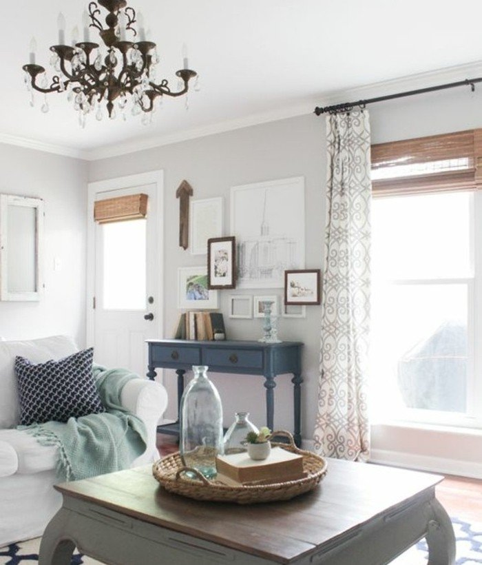 espacio decorado en estilo vintage en gris y blanco, fotos de habitaciones pintadas en dos colores