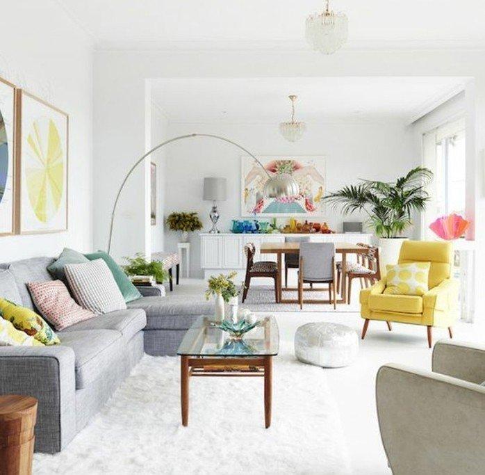 espacio decorado en gris, blanco y toques coloridos, decoracion habitacion rgis y blanca