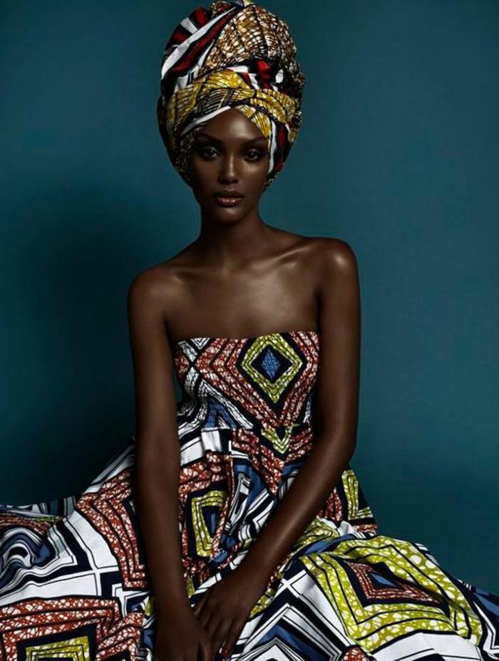 adorables diseños de vestidos africanos con estampados etno, fotos de vestidos taparrabos