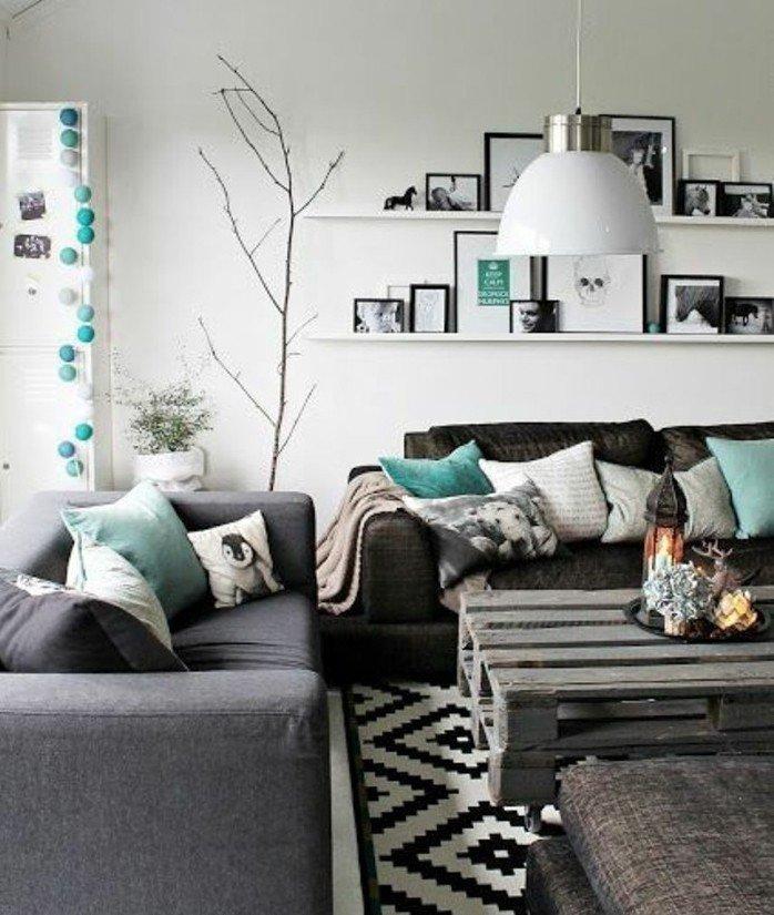 ambiente decorado en estilo nórdico con toques colorios en tono aguamarina, espacio decorado en estilo escandinavo