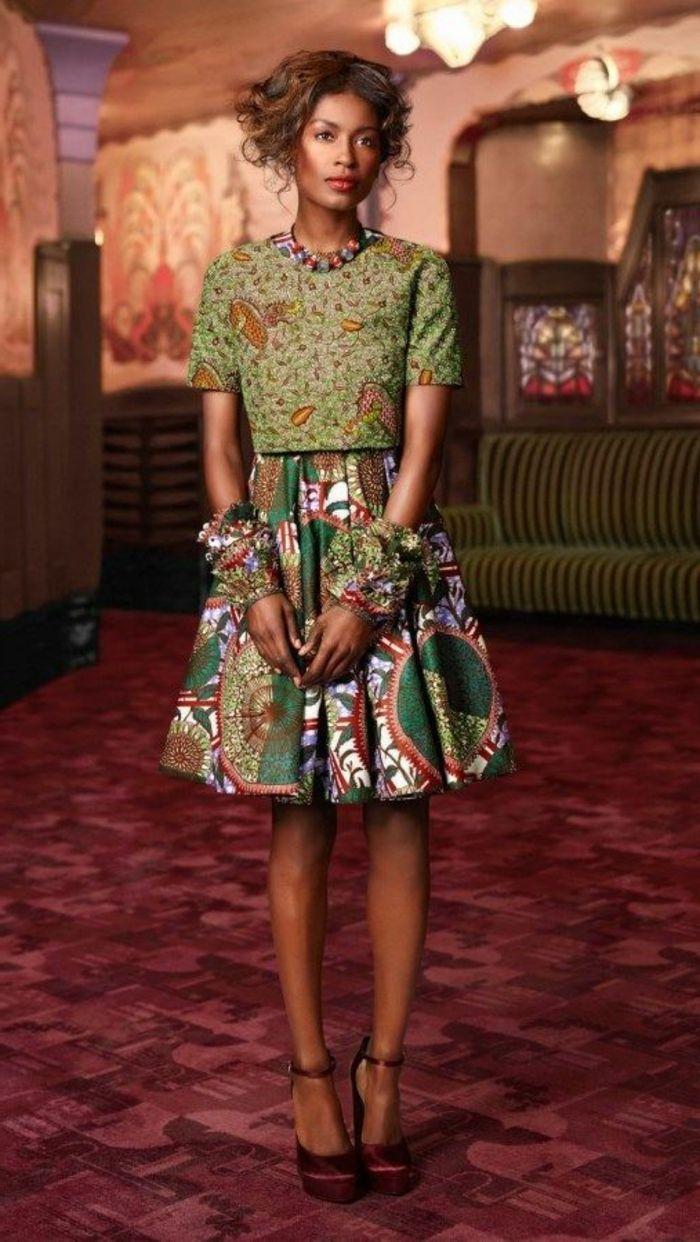 vestidos elegantes con estampados wax, vestido africano de dos partes en verde y beige