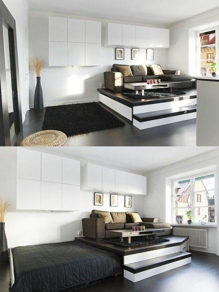 cómo amueblar un piso pequeño, decoración en blanco y negro, decoracion de salones pequeños