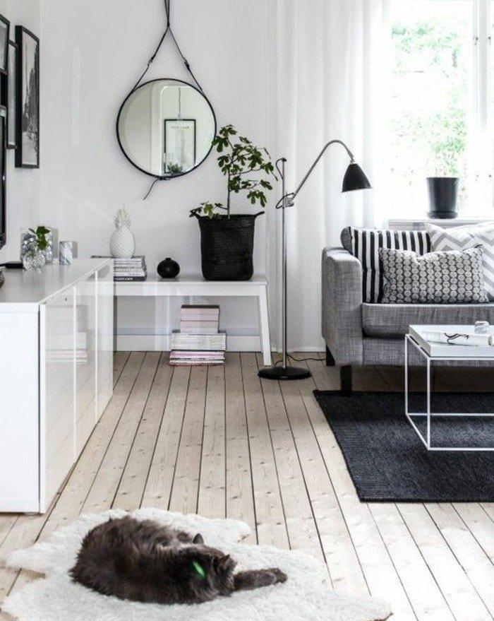 espacio decorado en blanco y gris según el estilo escandinavo, salon gris y blanco, suelo de parquet