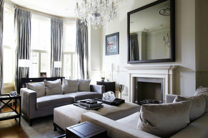 ingeniosas ideas de colores que combinan con gris grande salon con cortinas grises