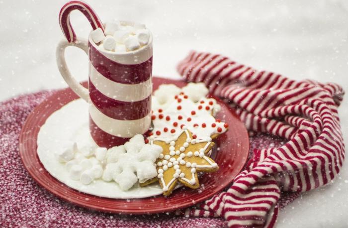galletas navideñas de jengibre decoradas con glaseado real, chocolate caliente con malvaviscos, tarjetas de navidad originales