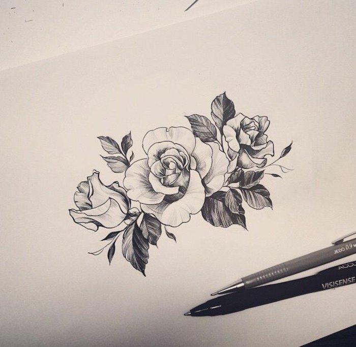 dibujos de tattoos con flores unisex y significado de las flores, los mejores diseños de tattoos