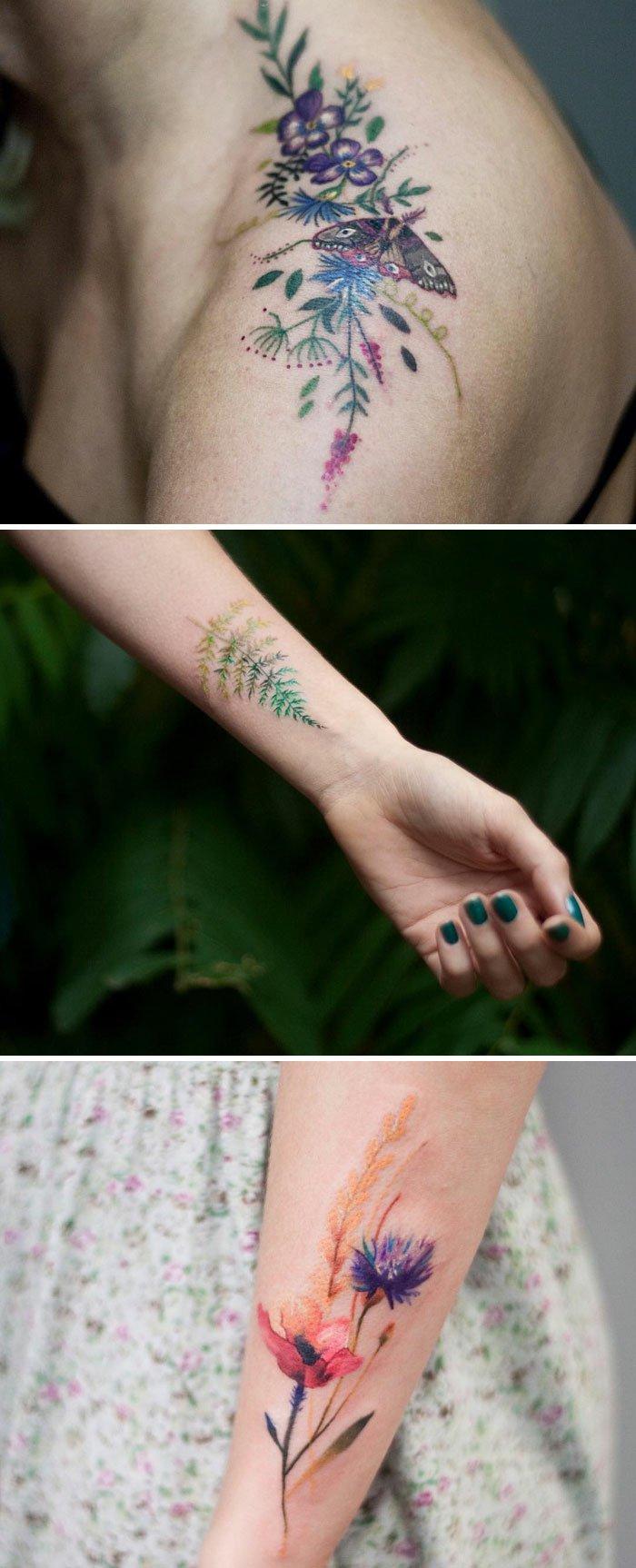 tres bonitas propuestas de tattoos con flores en colores y significado de las flores, imagines de tattoos