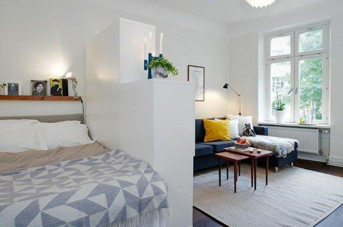 dormitorio acogedor separado del salón, como decorar un salon pequeño, colores claros
