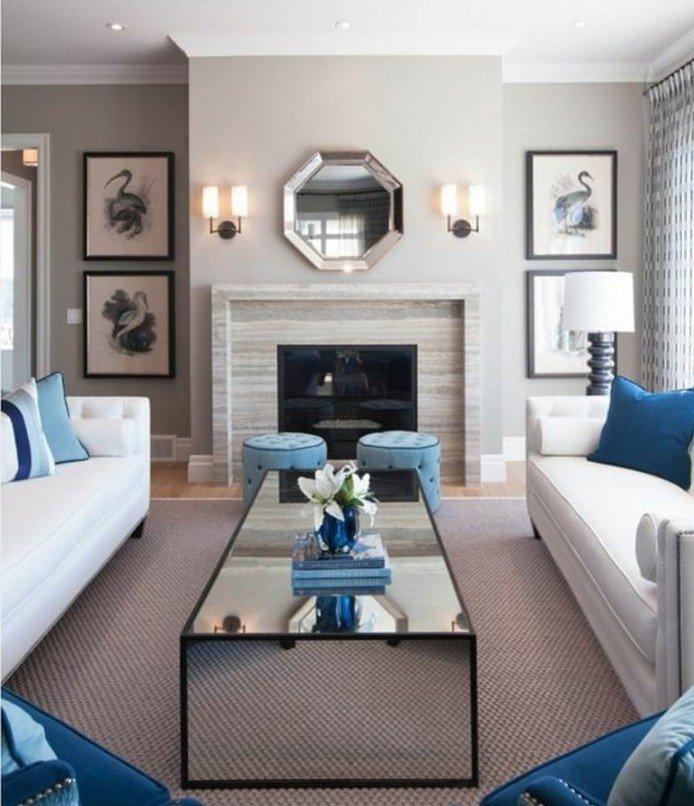 preciosas propuestas de colores que combinan con gris, salón decorado en blanco, gris y azul