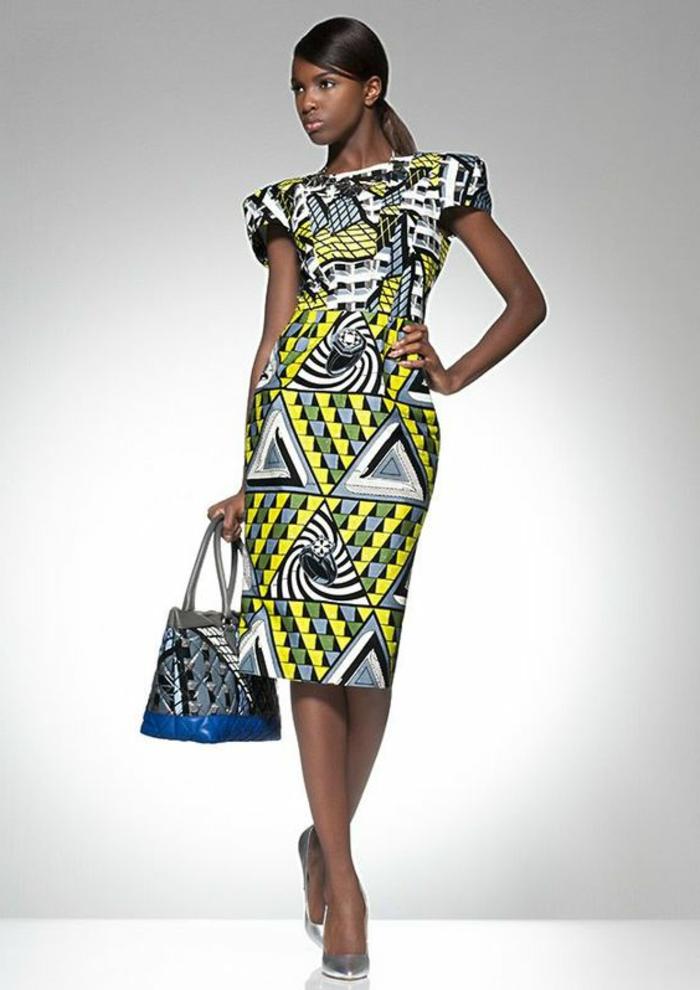 vestido de corte recto en colores neón, vestido con estampados etno motivos geométricos