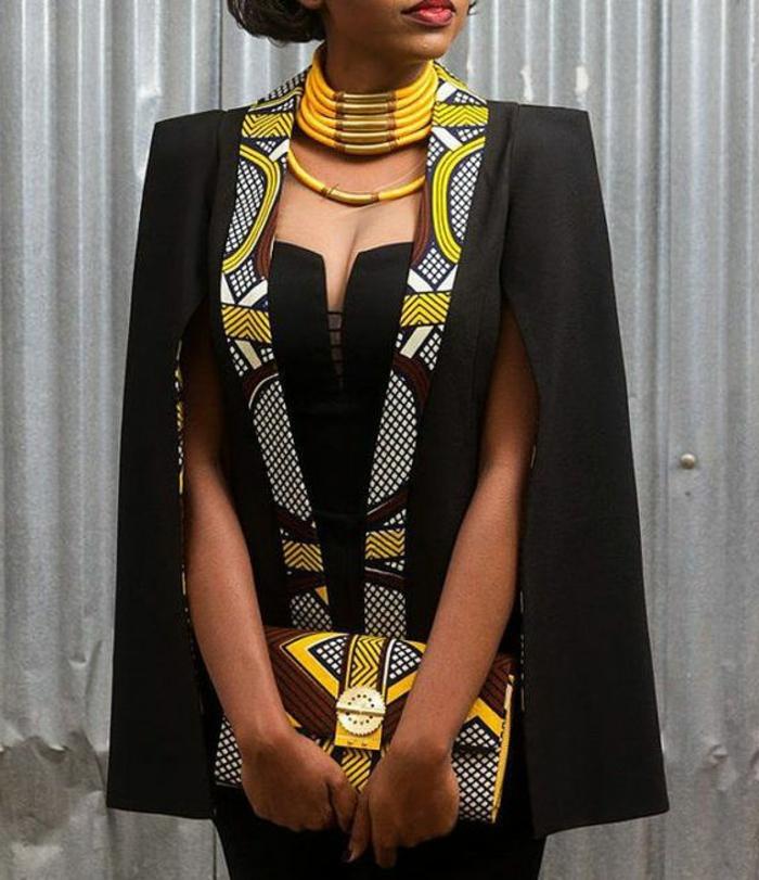 elegante chaqueta en negro y amarillo con estampados wax, collar elegante y moderno en amarillo
