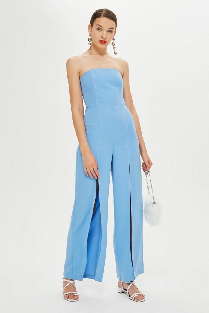 mono largo en color azul claro, precioso diseño con pantalones hippies con grande hendidura
