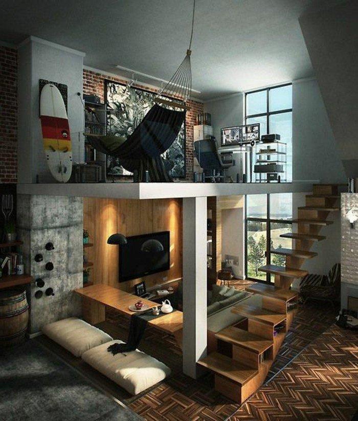 piso pequeño de dos plantas con escaleras de madera, como decorar un salon pequeño en 83 fotos