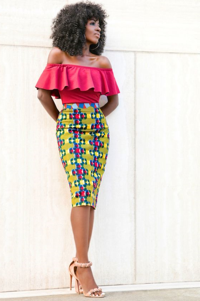 bonitos diseños de prendas modernas con elementos africanos, falda pitillo en color verde neón