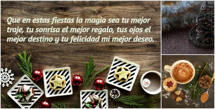 felicitar la navidad con un collage de imagines y bonitos deseos para tus amigos y familia