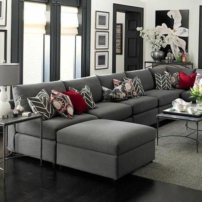 ingeniosas propuestas de colores que combinan con gris para la decoración de un salón