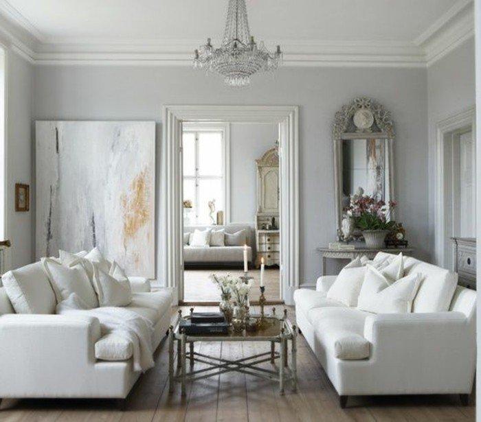preciosos saloes decorados en estilo vintage, grande pintura apoyada en la pared, salones en color gris perla