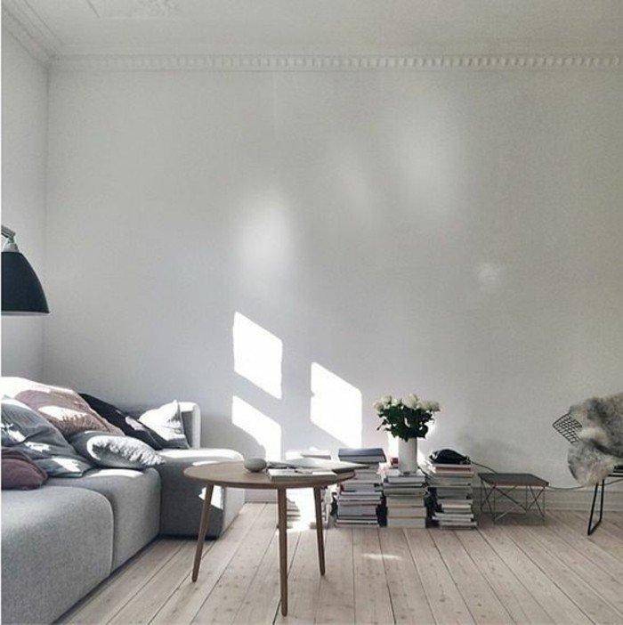 ideas de decoracion salon moderno en blanco y gris, sueño de parquet, sogá en gris, pequeña mesa