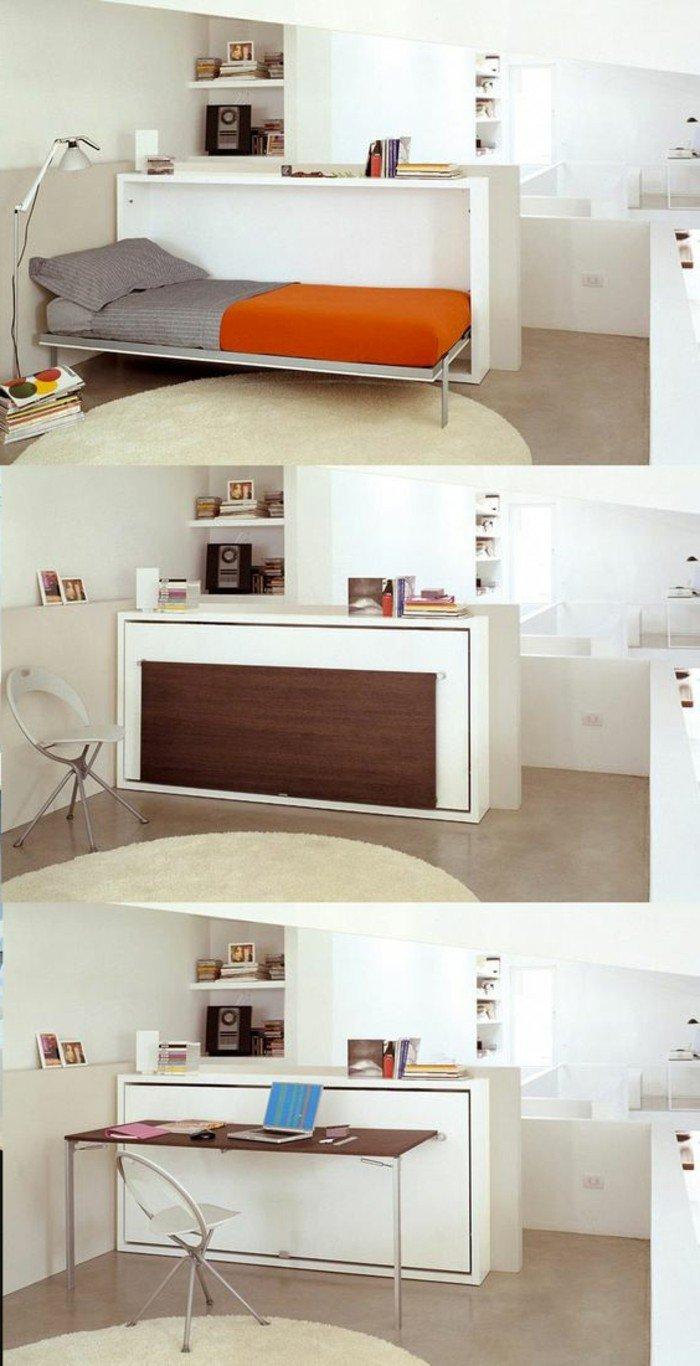 muebles plegables muy funcionales, decoracion salon moderno en blanco, tendencias diseño de interiores