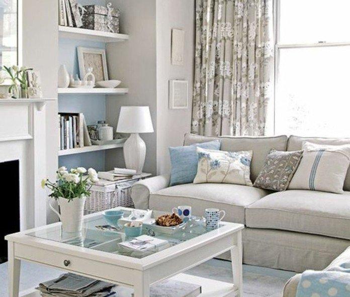 cómo combinar el color gris perlaen la decoración de un salón, toques en azul claro