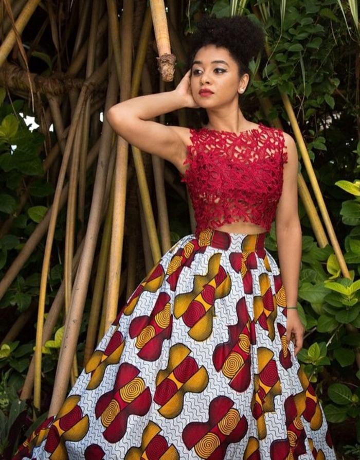 falda maxy con estampados wax y parte superior de encaje en rojo brillante, vestidos africanos taparrabos