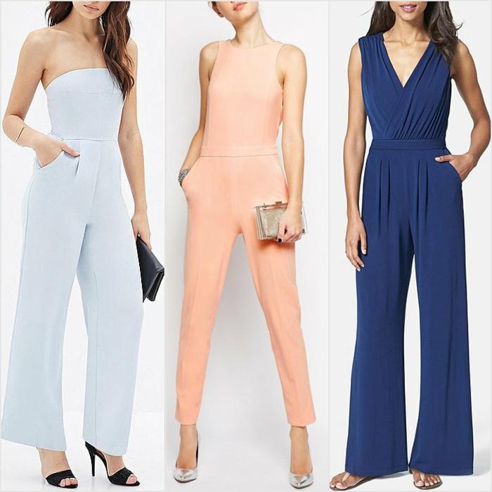 tres ejemplos sobre como vestir para una boda de dia, tres monos en bonitos colores, azul claro, naranja, azul oscuro