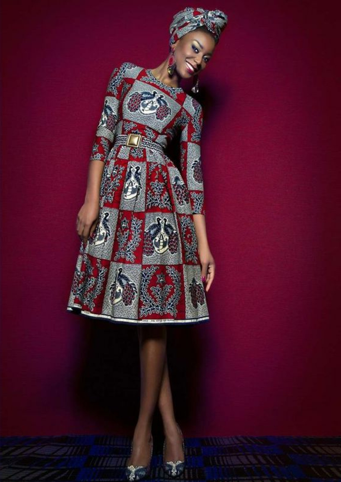 precioso vestido en gris y rojo corte en A, elegantes diseños de vestidos africanos modernos
