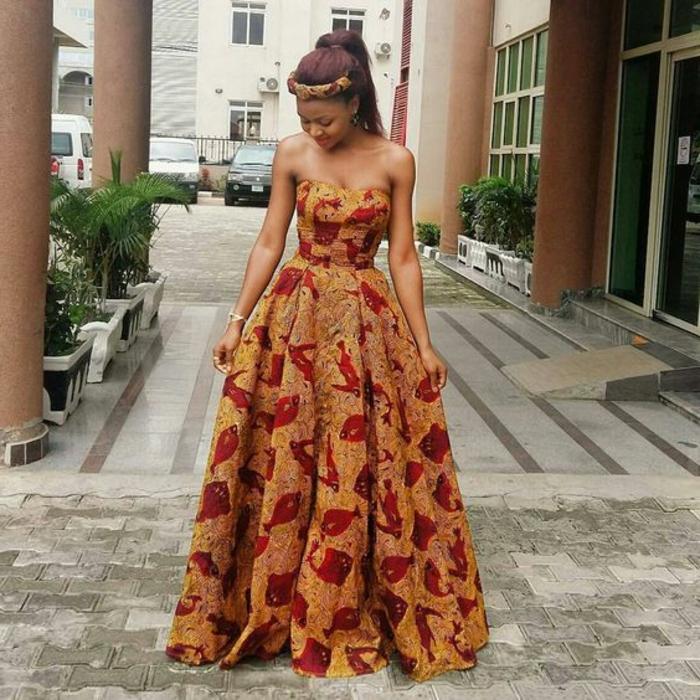 adorable vestido maxy en color ocre y rojo sin mangas, diseños de vestidos africanos bonitos