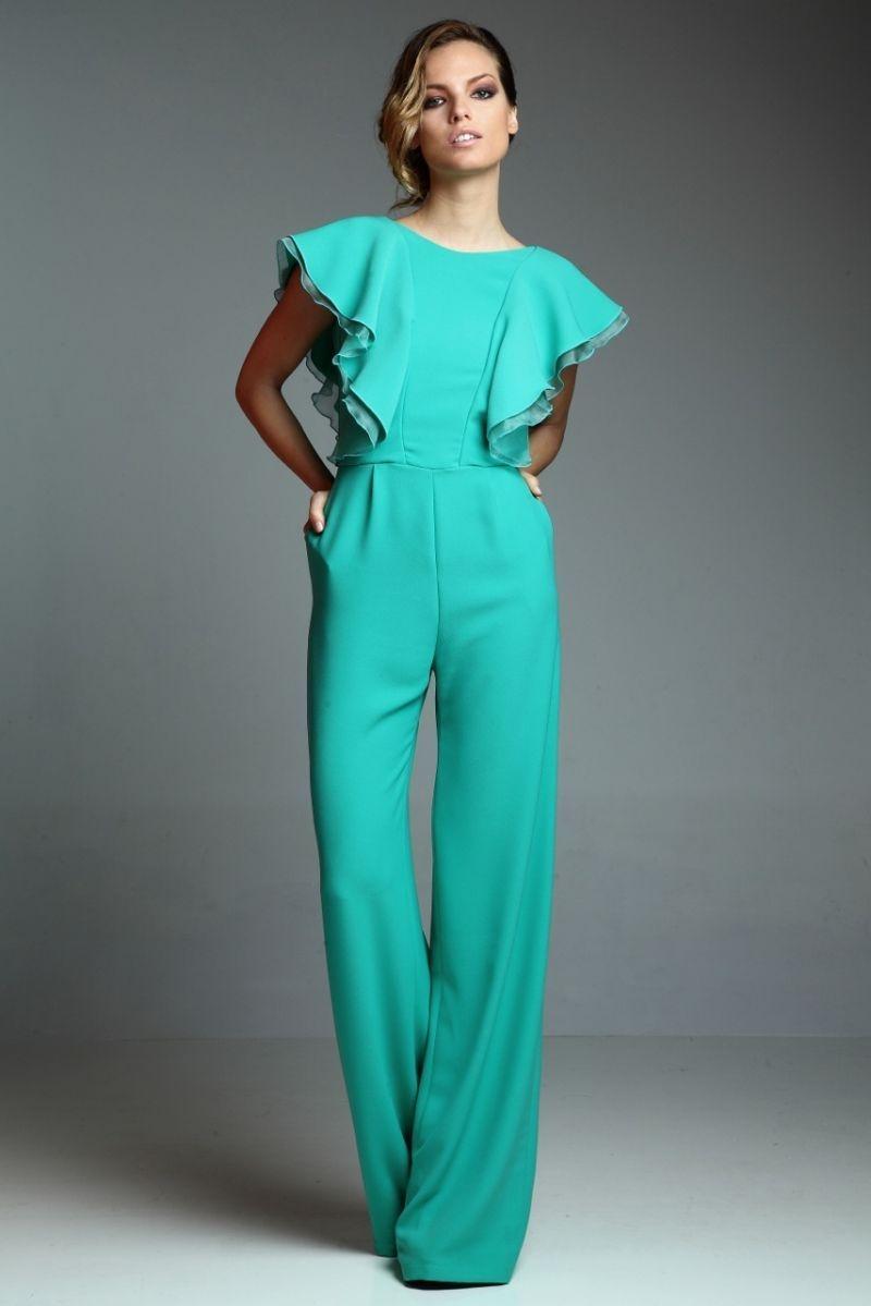 precioso monos de vestir en color verde, prendas bonitas de corte original, qué vestir a una boda