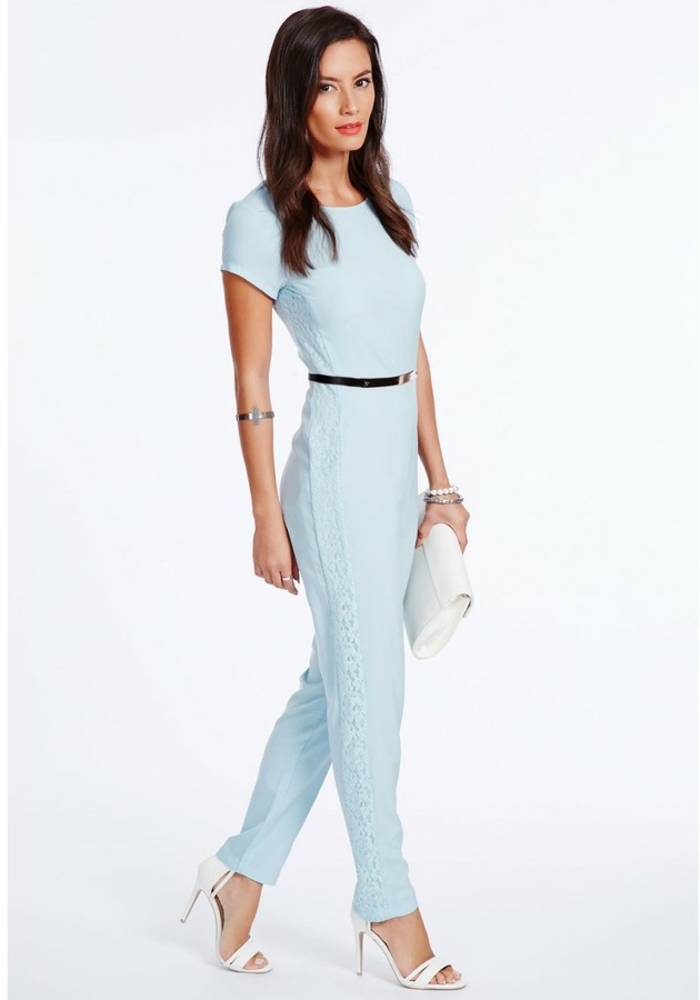 diseños de mono, ideas sobre como vestir para una boda de dia, mono en color azul claro