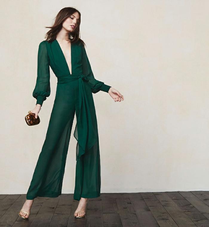precioso vestido en color verde oscuro, como vestir para una boda de dia en más de 90 imagines
