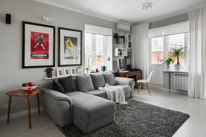 grande salón e estilo contemporáneo con pinturas en la pared, ideas de colores habitacion