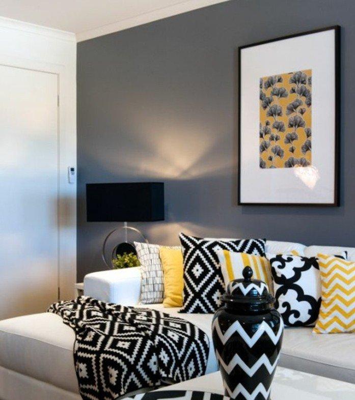 colores habitacion neutrales, cómo combinar el color gris en un salón, paredes grises con pintura