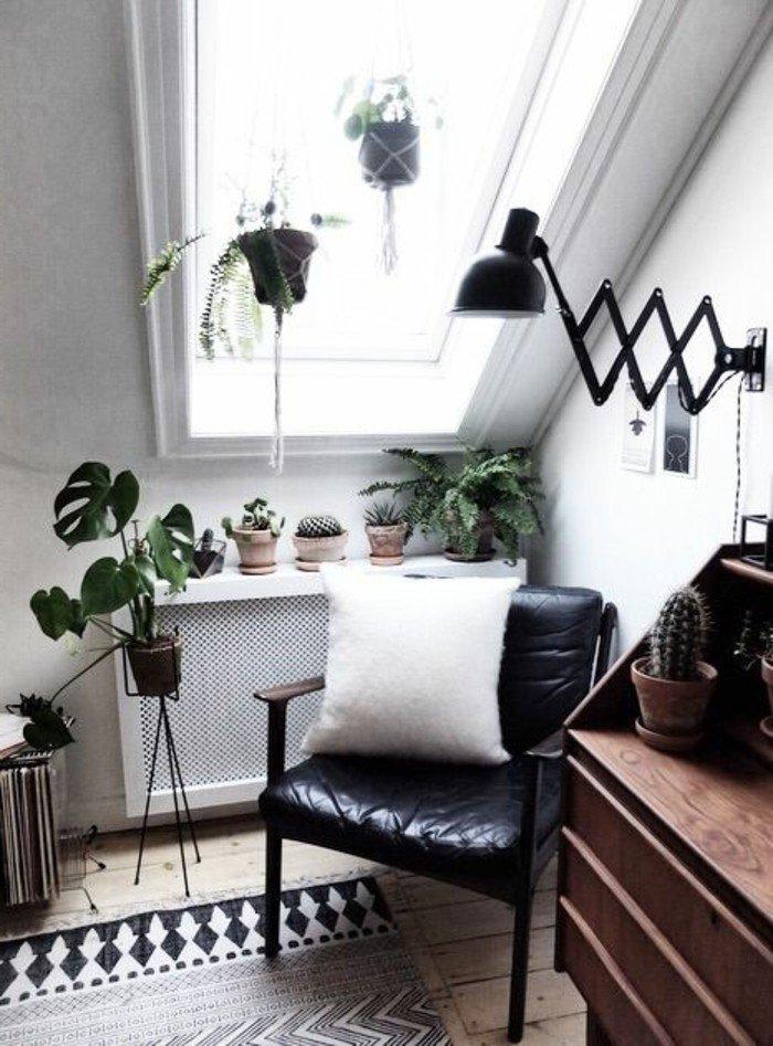 decoracion paredes salon en blanco y negro, pequeño rincón decorado en estilo vintage con plantas verdes