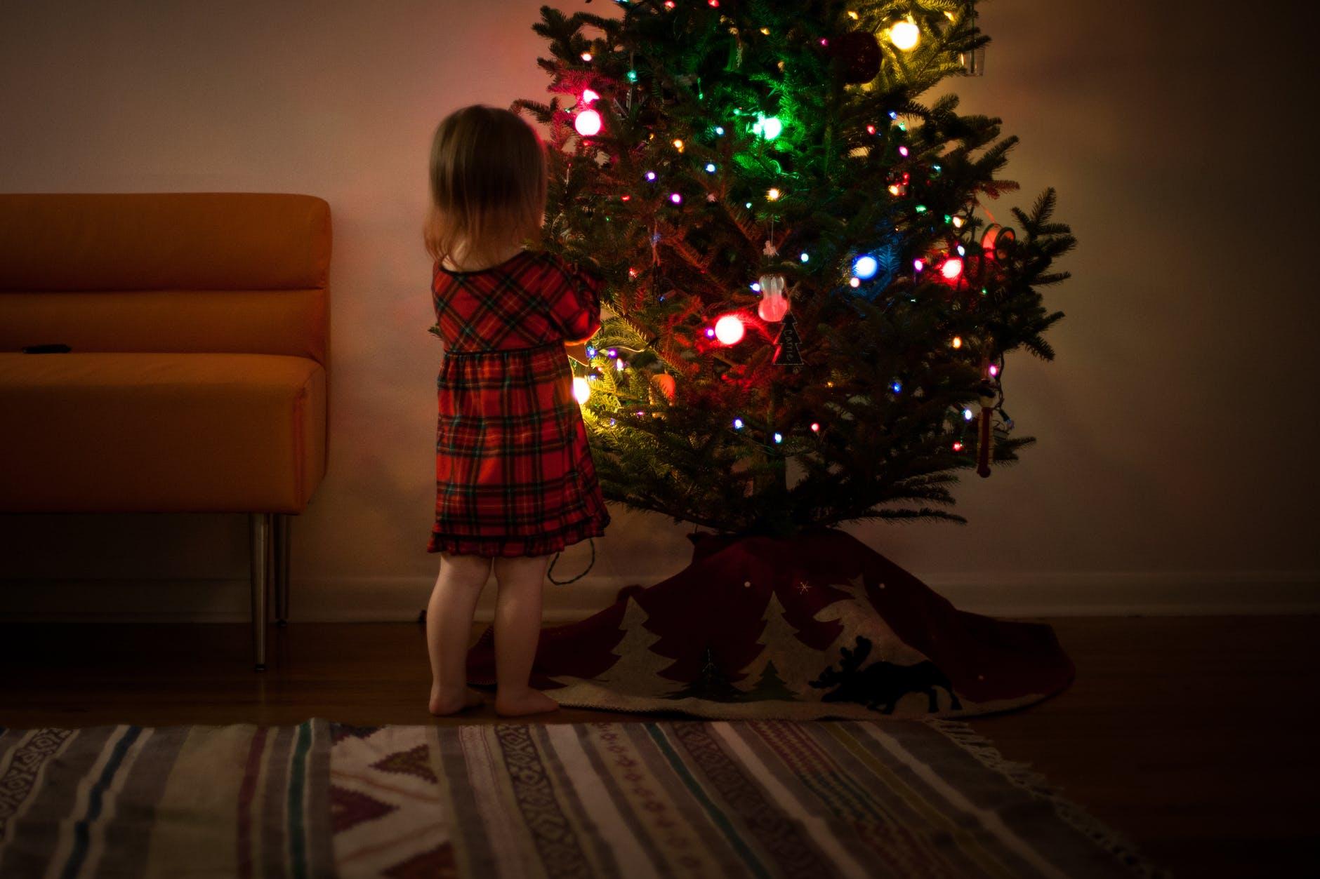 cómo adornar el árbol navideño con bombillas de led, esferas relucientes en diferentes colores