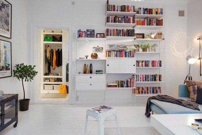 grande estantería con libros, salones acogedores decorados con mucho encanto, decoracion de salones pequeños