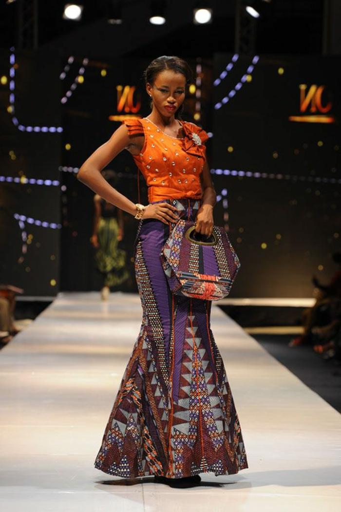 vestido de dos partes, falda de corte sirena y parte superior con mangas cortas, vestido en morado y naranja