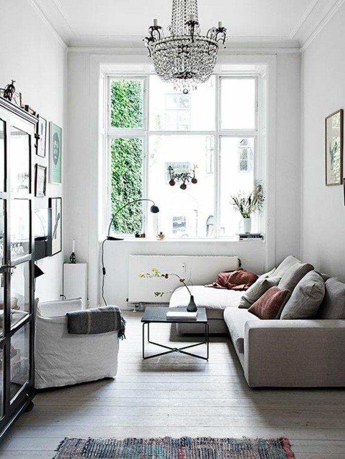 salon comedor pequeño decorado en blanco y gris, combinaciones de colores bonitas para tu salon
