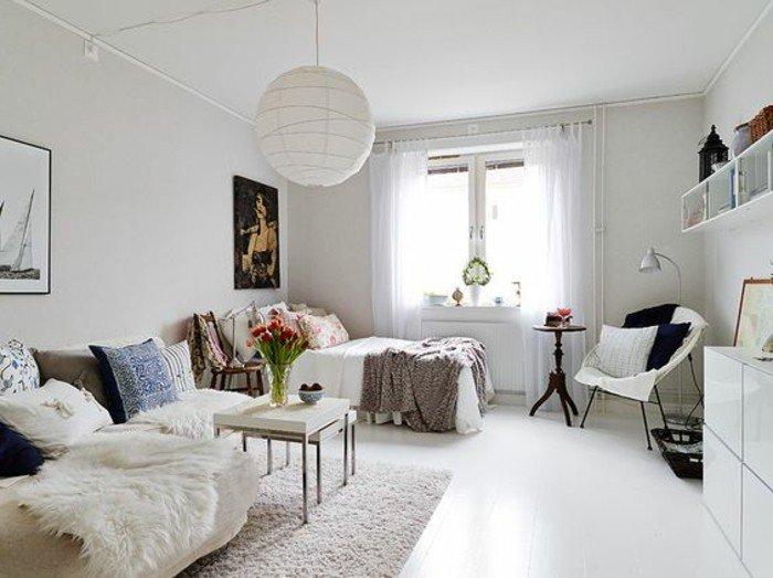 decoración de salones en estilo escandinavo, colores para espacios pequeños, salon comedor pequeño