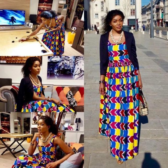 precioso diseño en colores llamativos, vestido maxy en amarillo, morado, rojo y azul estilo boho chic