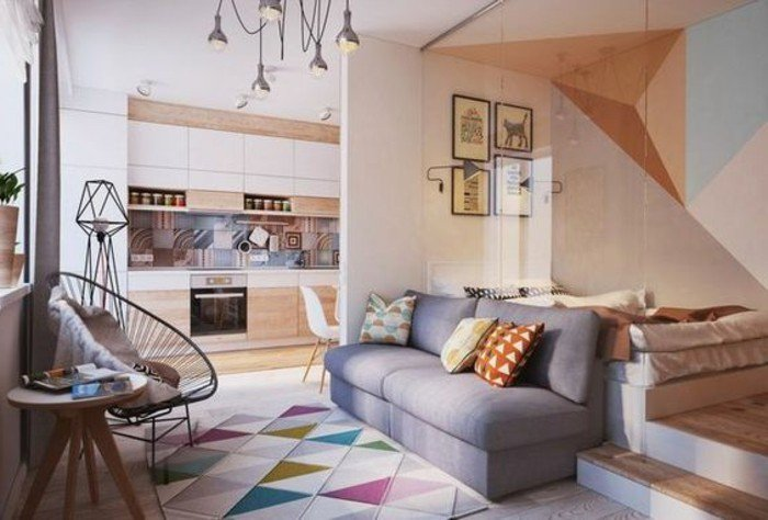 salón acogedor decorado en colores claros, salon comedor pequeño moderno según las últimas tendencias