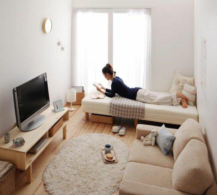 salón pequeño decorado en beige, salon comedor pequeño con muebles de madera de diseño
