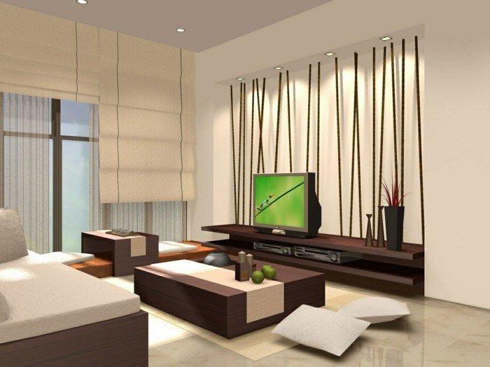 salón muy bien iluminado decorado en estilo contemporáneo, paredes en beige, muebles de madera