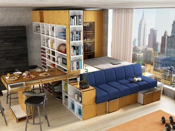 estudio decorado con mucho encanto, salón comedor con bonita vista a la ciudad, estudios pequeños