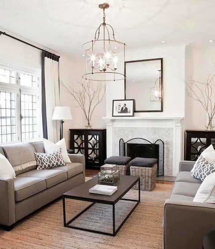 espacio decorado en estilo vintage con paredes blancas, habitacion gris escandinava