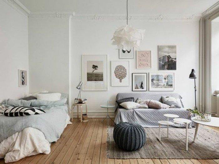 ambientes pequeños decorados en tonos neutros y claros con detalles en colores pastel